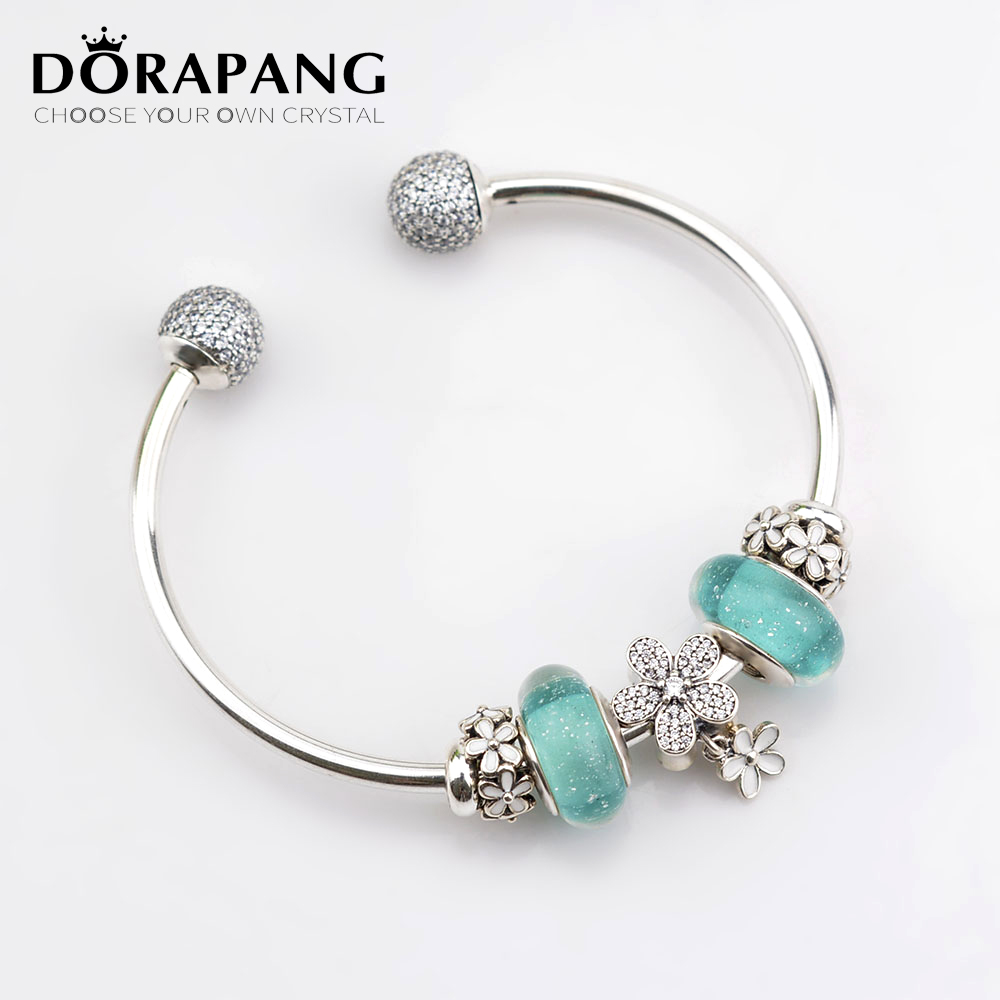DORAPANG 100% 925 Sterling Silver Bracelet Set For Europe Women Spring White Flowers DIY Gift Original Bangle & Green Charm Bead dorapang 100