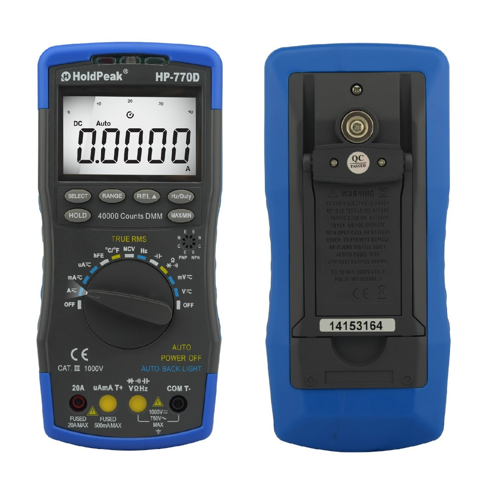 Digital Multimeter True RMS HP-770D Multimetro Auto Range Frequency/ Temperature test and Carry Bag цена