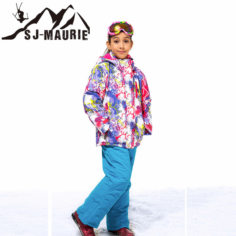 Children Ski Suit Winter Waterproof Windproof Kids Ski Jacket+Pants Outdoor Warm Hooded Snowboard Sports Suits Set for Girls коврик в багажник novline lexus gs300 седан 2008 полиуретан nlc 29 01 b10