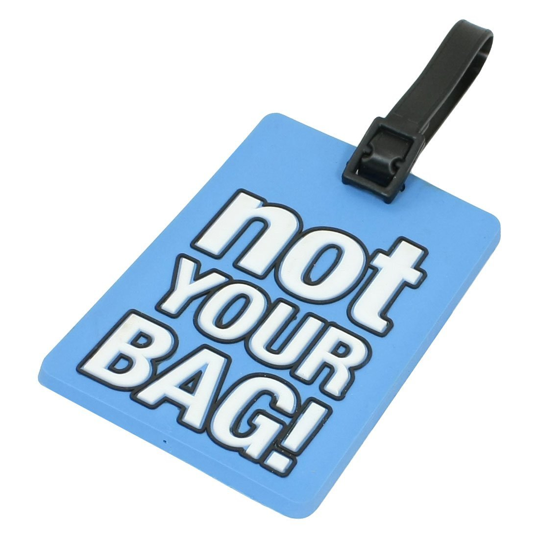 VSEN 2X Name Address Label Blue Soft Plastic Not Your Bag Pattern Luggage Tag