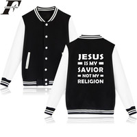 Trendy Cool Jesus Christian Design Casual Bassball Clothing I Love Jesus Print Womens Winter Jackets And