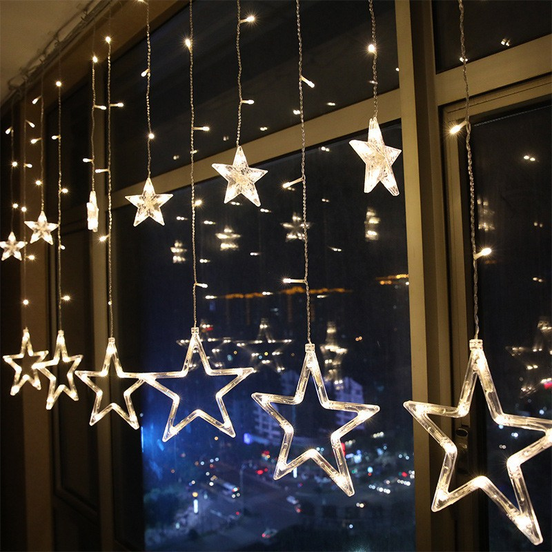 Mrosaa 2.5M 138 Led Night Light Battery Power 12Pcs Star Curtain Lights Hanging Lamp for Holiday Wedding Party Window Home Decor