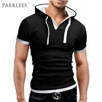Marka Hoody T Shirt Erkekler Benzersiz Kapüşonlu Tasarım Mens Kısa Kollu pamuk Tee Gömlek Casual Slim Fit Tshirt Erkek Siyah T-shirt Xxl