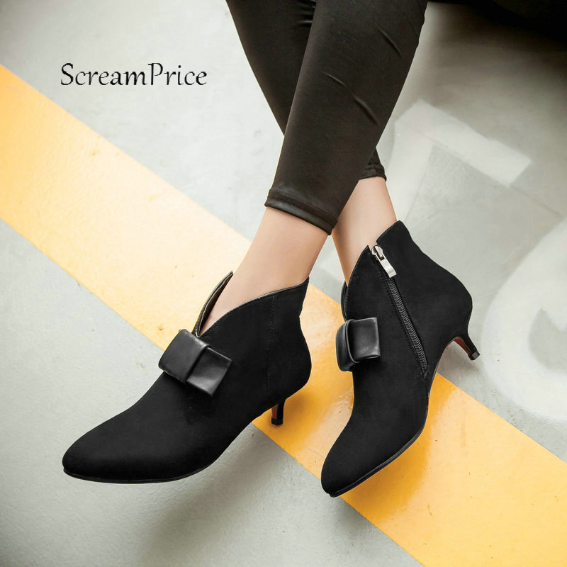 Women Faux Suede Side Zipper Thin Heel Ankle Boots Fashion Pointed Toe Comfortable Low Heel Winter Shoes Black Red women faux suede side zipper sexy thin high heel thigh boots fashion pointed toe winter shoes black g
