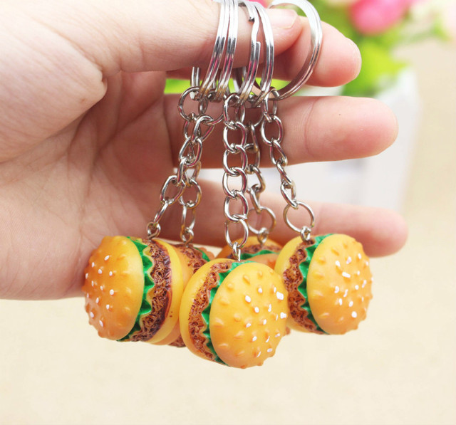Cute Hamburger Keychain Party Thank You Favors Souvenirs Gifts For Guests Kids Birthday Gift