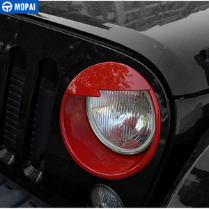 Image 2 - MOPAI Car Front Headlight Head Light Lamp Decoration Cover Exterior Stickers for Jeep Wrangler JK 2007 2016 Car Styling
