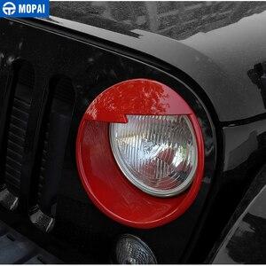 Image 2 - MOPAI سيارة الجبهة العلوي رئيس ضوء مصباح الديكور غطاء الخارجي ملصقات ل جيب رانجلر JK 2007 2016 سيارة التصميم