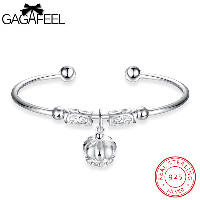 GAGAFEEL Cuff Bangles Genuines Sterling Silver Jewelry Bracelets For Women Silver Wedding Bangle Watch Bracelet Girls Love Gifts