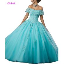 2019 Sweet 15 Year Girls Quinceanera Dresses Off the Shoulder Ball Gown Tulle Lace Applique vestidos largos Birthday Party Dress