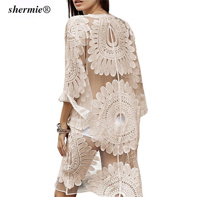 813870dab80f € 21.2  Sexy Sarongs Bikini playa túnica Crochet playa cubrir traje De baño  talla grande bata blanca De Plage traje De baño mujeres cubrir Ups pareo ...