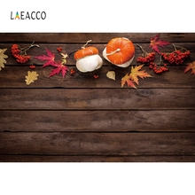 Laeacco Autumn Maple Leaves Pumpkin Wooden Boards Baby Portrait Photo Backgrounds Photography Backdrops Photocall Studio
