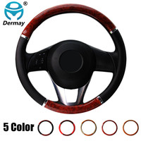 Car Wood Steering Wheel Cover Leather Covers Sets Wooden Styling For BMW Toyota VW Gol Polo