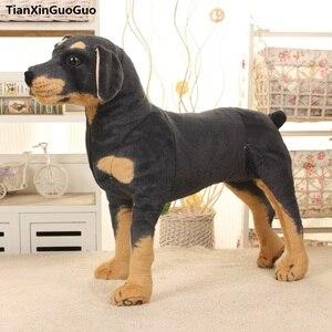 Sztuczny pies Rottweiler duży 50x45cm stojący rottweiler pluszowy pies zabawka, prezent na boże narodzenie h0779