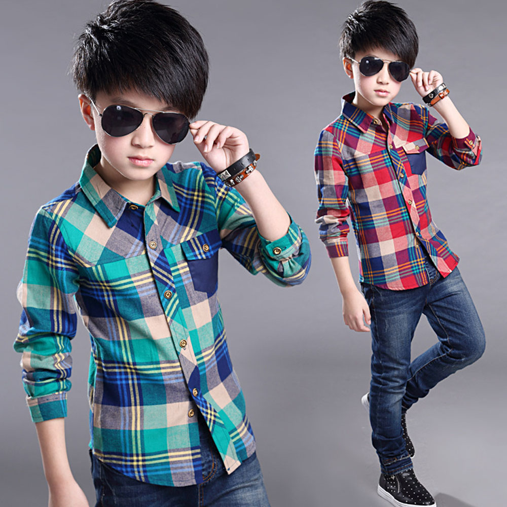 Classic Spring Boys Shirts 2017 Korean Style Cotton Plaid Shirts For Boy Chemise Enfant Kids