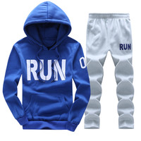 Sweatshirt Men Tracksuit Set Sweat New 2016 Brand Autumn Winter 2PCS Stand Collar Fleece Patchwork Casual