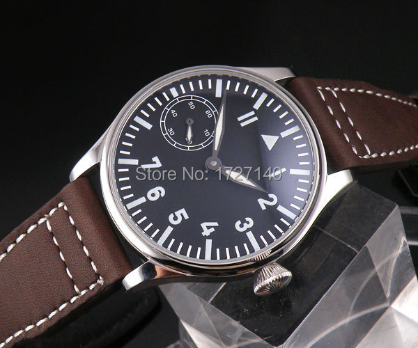 Parnis 44mm negro Dial blanco número mano bobinado hombres reloj 6497 @ 9 P08-in Relojes mecánicos from Relojes de pulsera    1