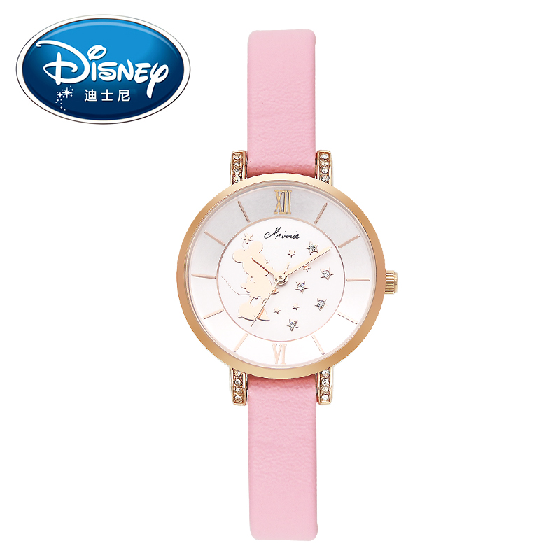 Disney Kids Watch Children Watch Rhinestone Fashion Minnie Leather Strap Cute Quartz Wristwatches Girls Waterproof clock 2015 new fashion boys girls silicone digital watch for kids mickey minnie cartoon watch for children christmas gift clock watch