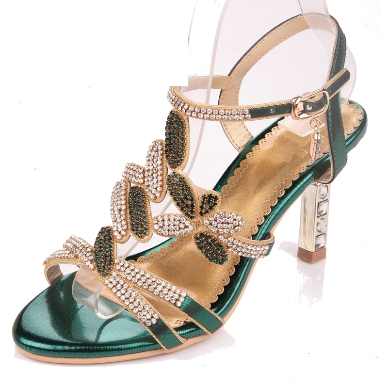 Green Color Lady Sandals Chunky High Heel Crystal Open Toe Sandal Summer Dress Shoes Sparkling Party Prom Pumps Size 34-41 цена 2017