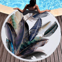 Feather Pattern Microfiber Beach Towel Round Tapestry Bath Towels For Adults Absorbent Fabric Tassel Yoga Blanket Picnic Mat