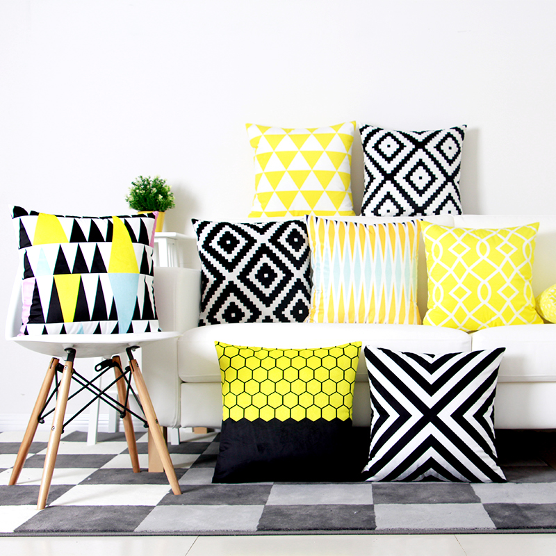 Aliexpress.com : Buy Yellow Black Geometric Cushion Cover