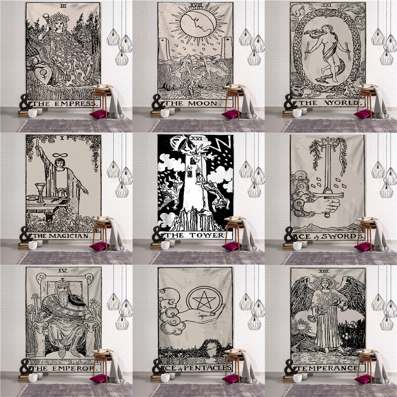Magical Moon Sun Tarot Tapestry Wall Hanging Bedspread Large Tapestries Cover Boho Art Wall Home Decor Yoga Bedspread Blanket