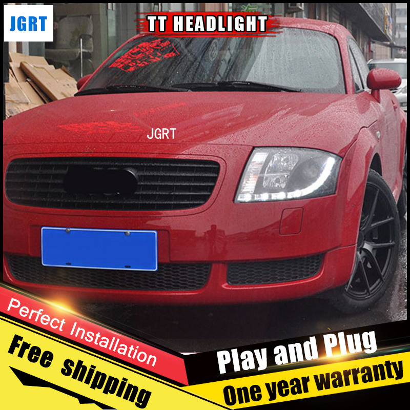 2PCS Car Style LED headlights fo Audi TT 1999-2006 for TT head lamp LED DRL Lens Double Beam H7 HID Xenon bi xenon lens auto lighting style led head lamp for mazda 3 axe headlights for axela led angle eyes drl h7 hid bi xenon lens low beam