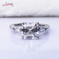 COLORFISH Asscher Cut Tre Pietra Anello di Fidanzamento di Lusso 3 Carat Brillante Sintetici Nscd Donne 925 Sterling Silver wedding Ring