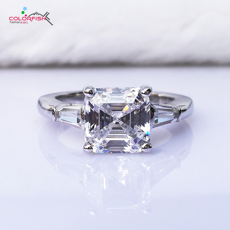 COLORFISH Luxury Asscher Cut Three Stone Engagement Ring 3 Carat Brilliant Synthetic Nscd Women 925 Sterling Silver wedding Ring
