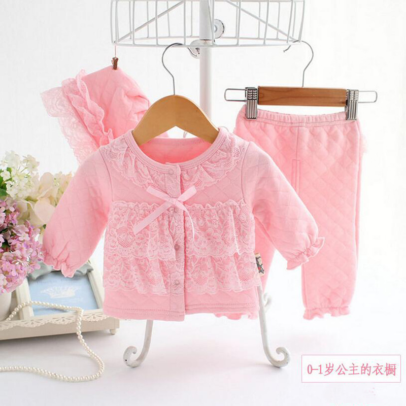2017 New Baby Girls Clothing Top Pants Hats 3pcs Set Newborn Princess Spring Autumn Winter Air-Cotton Warm Thermal Outerwear Set