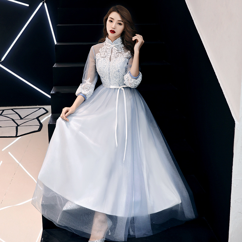 sky blue half sleeve   evening     dress   A-line   evening     dresses   lace Appliques special occasion   dresses   2019   evening   gowns ES2518