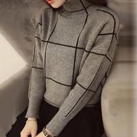 Sweater Women 2016 Winter Autumn Knitted Sweater Warm Thincken Turtleneck Pullover Long Sleeve Fashion Stripe Womens