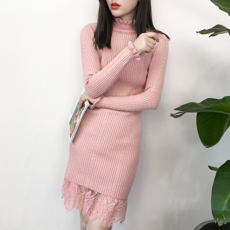 Autumn and Winter Thick Knitted Clothes Women Turtleneck Long Sleeved Sweater Dress Female Lace Stitching Work Bodycon Dresses skullies gfs hot sale female tide leather braids knitted cap autumn and winter women s curling ear warmers headgear 1866784