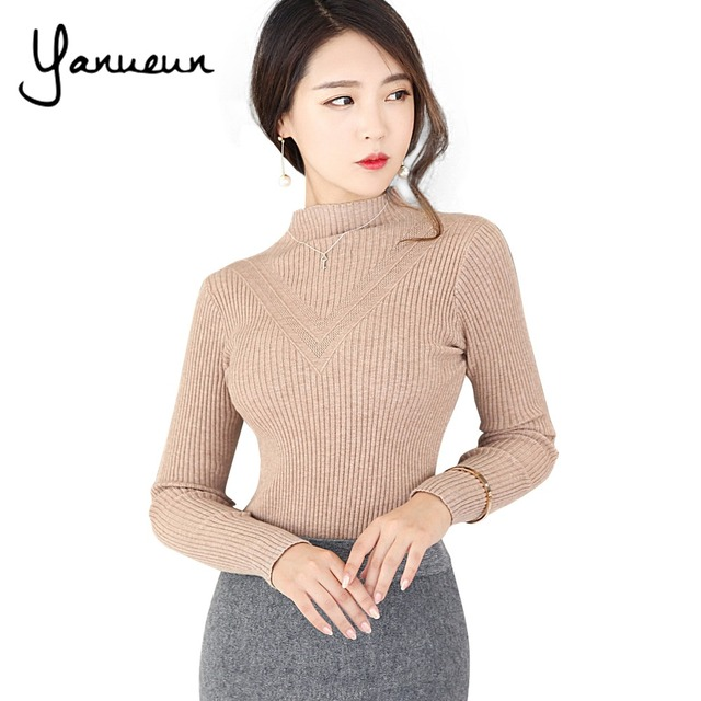 Yanueun Korean Fashion 2017 Brand New Sweaters Women Autumn Cotton Pullover  Long Sleeve Turtleneck Sweater Slim