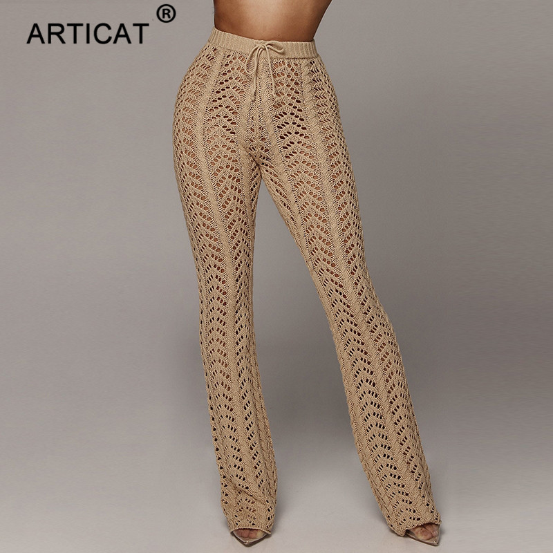 Articat High Waist Knitted Sexy   Pants   Women Transparent Hollow Out Crochet   Wide     Leg     Pants   Autumn Party Women Trousers Bottoms