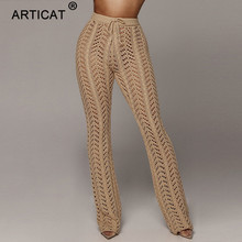 Pantalones Sexy de punto con cintura alta para mujer con agujeros transparentes de ganchillo pantalones de pierna ancha para fiesta de otoño Pantalones de mujer