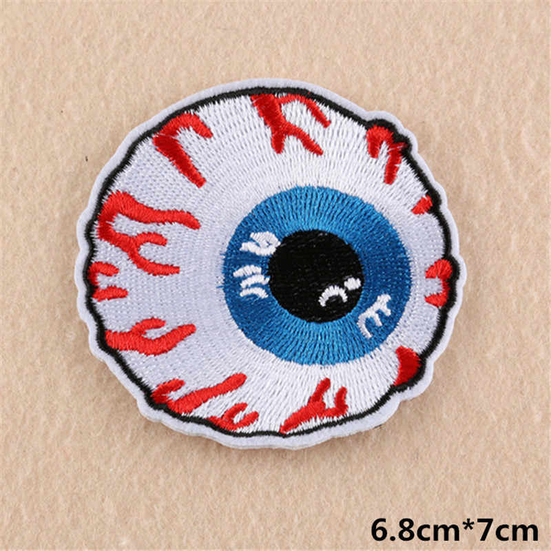 8 estilos Bordado Emblema Redondo de Ferro Sobre Patches Para Vestuário DIY Branco T Camisa Tecido Olho Remendo Legal Vestuário Decoração acessórios