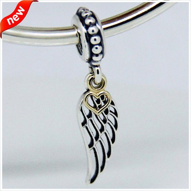 Serve para pandora pulseira encantos contas para fazer jóias de prata 925 original da asa do anjo dangle charme com coração diy contas fl074k