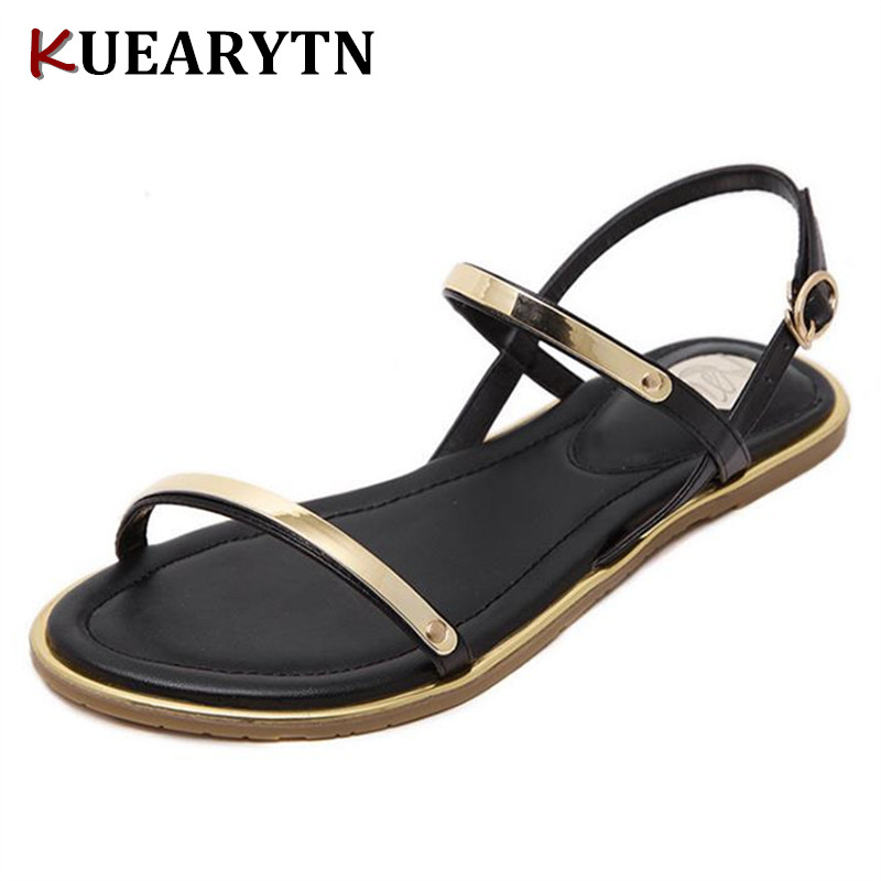Women Sandals flat with summer 2018 new simple open-toed beach shoes non-slip Roman shoes A53