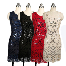2019 New Sexy 1920s Retro Sequined Dress Women Fashion Round Collar Sleeveless Summer Banquet Dinner