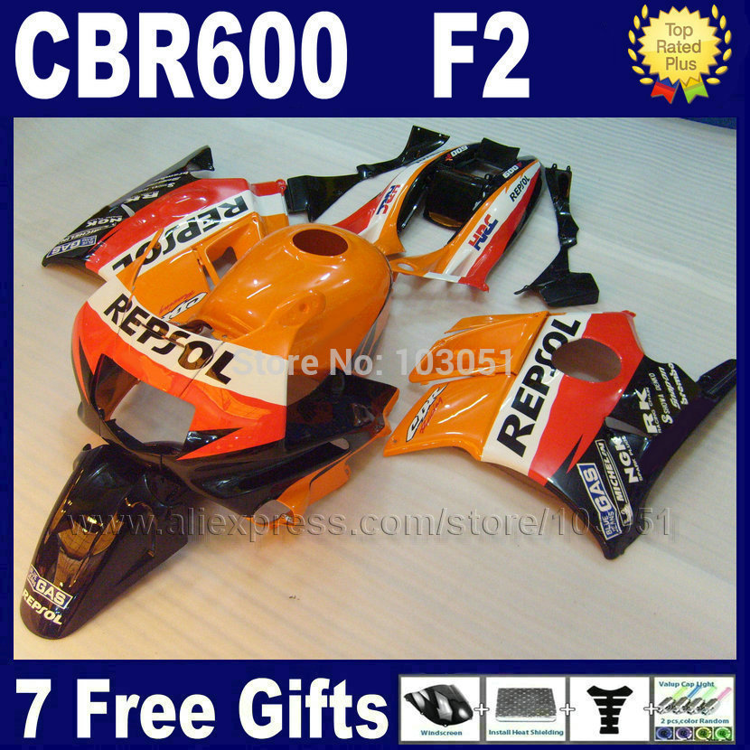 Fullset ABS fairings kits for Honda repsol orange 1993 1994 CBR600 F2 1991 1992 CBR 600 F2 92 93 CBR600 F 91 94 fairing kit+ tan abs injection bodywork for honda repsol fairing kits cbr600 2003 2004 cbr 600 rr 03 04 cbr600rr orange red fairings sets
