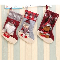 1 Pcs Large Size Village Style Christmas Stockings Candy Gift Bags Holders Xmas Decoration Supplies Santa
