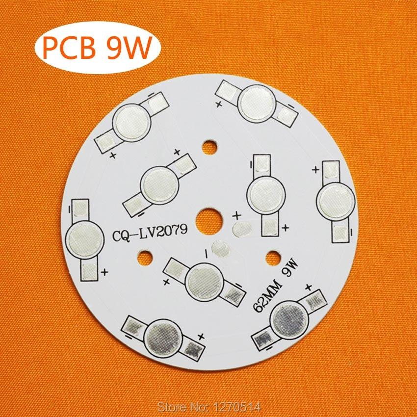 PCB LED 9W, 62 mm për LEDs 9pcs, bazë pllaka alumini, PCB alumini, borde të shtypura qarku, me fuqi të lartë 9W LED DIY PCB