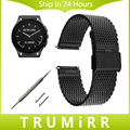 22mm milanese pulseira de liberação rápida para o vetor luna meridiano smart watch malha banda cinta de aço inoxidável pulseira de prata preto
