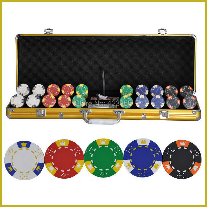 PK-5001 500pcs chips with case, Clay 14g Poker Chips insert metal, five colors