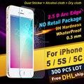 ENVÍO LIBRE de DHL X 300 HD Ultrafino Templado 2.5D Protector de Pantalla Frontal vidrio 0.26mm película protectora para iphone 5 5s 5c al por menor no paquete