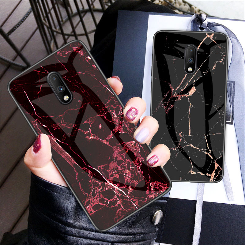 Ultra Thin Glossy Colorful Tempered Glass Marble Case For One Plus font b Oneplus b font