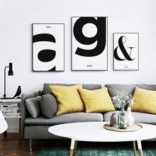 Elegant Poetry Modern Fashion Abstract Simple Letter Pattern Canvas Painting Print Poster Picture Wall Home Decoration