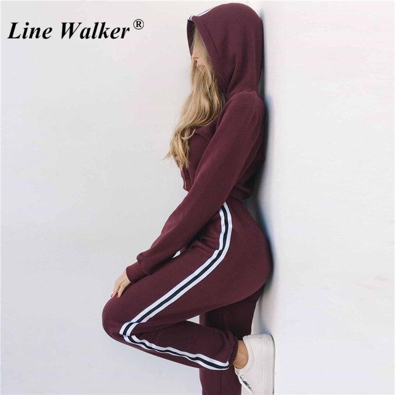Ligne Walker Jogging costumes pour vêtements de sport pour femme sweats à capuche courts survêtement chaud vêtements de course costume Gym Fietness lâche 2 pièces ensemble