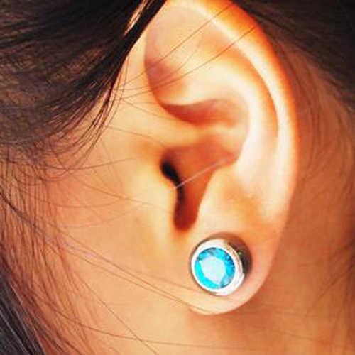 LNRRABC 5 มม.คริสตัล Ear Studs Piercing สุภาพสตรีขนาดเล็กต่างหูหินสำหรับผู้หญิงผู้ชายแฟชั่นเครื่องประดับ