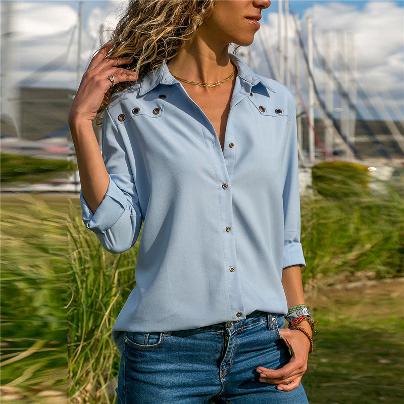2019 Fashion Solid Color Sexy V Neck Button Hole Long sleeved Chiffon Shirt Women 39 s Tops Chiffon Blouse Autumn Lapel Shirts Blue in Blouses amp Shirts from Women 39 s Clothing